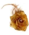 Gouden bloem met veertjes op elastiek