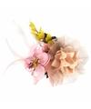 Bloemen broche roze/geel